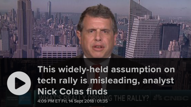 "CNBC: ""A widely-held assumption about rallying tech stocks is deceiving as smaller names lag, analyst Nick Colas finds"""